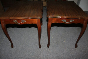 2 matching antique end tables