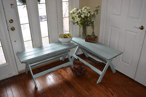 Pair of shabby chic 'Sensible Sage' fold-up benches