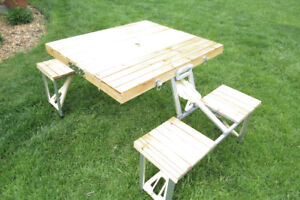 Picnic Table - Portable Compact Folding Table and 4 Seats