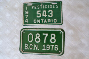 TWO ONTARIO AND BCN LICENCE PLATES 1976 1974