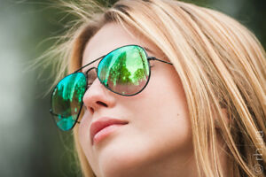RAY-BAN AVIATOR FLASH SUNGLASSES - Green Gradient Flash