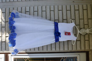 2 x White with blue roses flower girl dresses