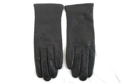 Grandoe Women's Vintage Leather Driving Gloves Black Acrylic Lined Size L Grandoe Lined Gloves
