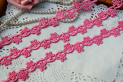 Delicate hot pink floral lace trim- ribbon - price for 1 (Hot Pink Trim)