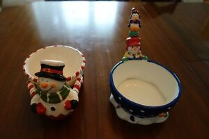 Christmas! Snowman candy dish and pate serving dish with knife Kingston Kingston Area image 4