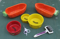 pet dishes and grooming tools