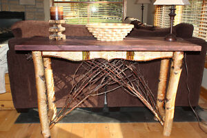 Adirondack Sofa Table in Birch with Twig and Birch Bark Accents