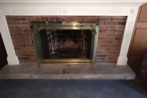 "Wood Fireplace Glass Door - 41""(w) x 31"", Gold, Bi-Fold, VINTAGE"