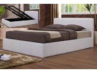 Double, ottoman, storage, leather bed, Hydraulic lift up bed, Memory Foam mattress. Brown, white,