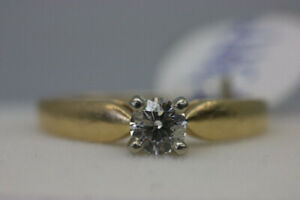 14K Yellow White Gold Solitaire Engagement Ring Sz 5.75 (#2153)