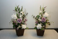 Pair of Silk Flower Arrangements