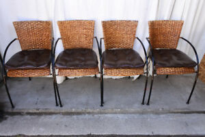 Set of 4 wicker woven chairs w leather cushions, refurbished (de