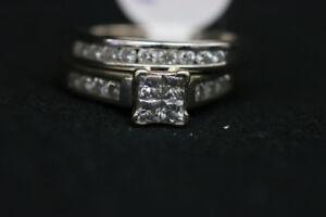 14K White Gold Diamond Wedding Ring Set Size 5 (#17340)