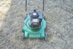 Green side discharge mower