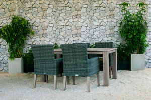 Champagne Weathered Teak Outdoor Dining Table Set with Chairs! Comox / Courtenay / Cumberland Comox Valley Area image 2