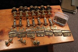 7 sets of complete door hardware - brass