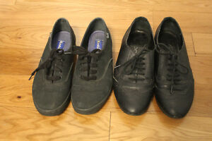 BLACK SHOES: size 7 keds and oxfords