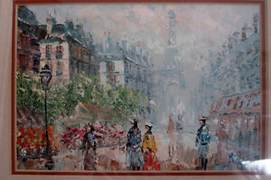 """Cityscape Oil Painting with frame 13""""x11""""  20$"""