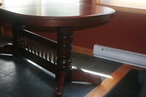 Cherry Oak Trestle Table with 8 Chairs