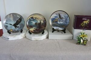 3 Franklin Mint Plates and 1 Butterfly Sculpture