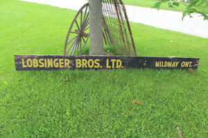 Old Wooden Lobsinger Bros. Ltd. Sign - Thresher London Ontario image 1