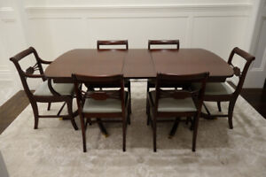 MAHOGANY DINING ROOM TABLE & 6 CHAIRS