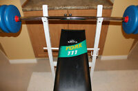 Weight Bench, 6ft barbell, 130lb weight plates, dumbbell handles