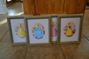 Beautiful Framed Disney Princess Prints (like new)