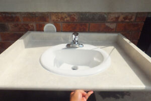 Single vanity countertop sink marble look laminate with Moen Tap