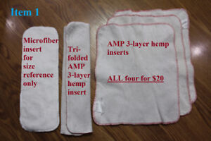 Various cloth diapers, covers, and inserts (prices in pics too)