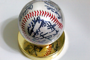 AUTOGRAPHED Yankees Baseball with Gold Case