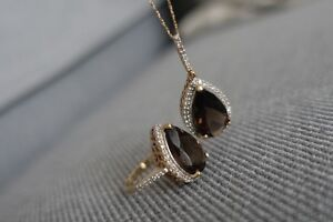 For Sale Gold Ring/Pendant Smokey Quartz/Diamonds