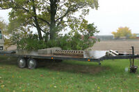 24ft. dull axle flat bed trailer with room to add a third axle