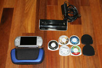 Sony PSP, carrying case, 4 games, 1 movie, charger and CD cover