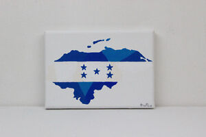 Honduras Flag Map Original Painting
