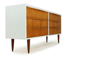 Mid Century Modern Teak Six Drawer Dresser in White