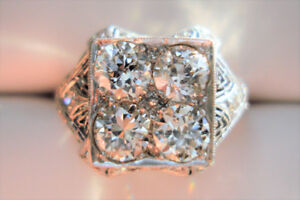 1.55 Ct Diamond (VS-SI, G-I) ANTIQUE FILIGREE Platinum Ring