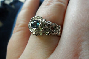 London Blue Topaz sterling silver ring. Unique engagement ring