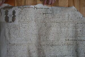 1685 old contract document on sheep skin, red wax seal TRADE Edmonton Edmonton Area image 5