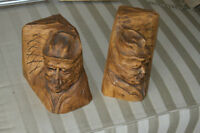 A pair of Wooden handcarved BOOKENDS