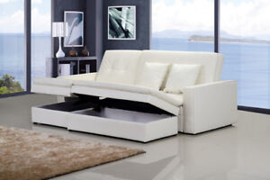 AMAZING DEAL leather sofa bed, chaise, ottoman & 2 storages