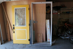 Stained Glass Insulated Steel Door and Aged Bronze Handleset