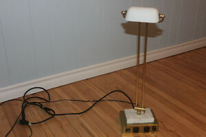 Unique Brass & Marble Base Lamp with Phone Jack & 2 Plug Outlets