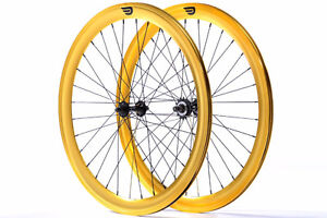 Pure Fix Cycles Front and Fixed Gear Rear Wheel Set 50mm Gold