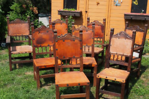 Antique solid oak leather seat dining chairs set of 8