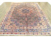 Persian Carpet Rug Handmade Overdyed aspect Sun washed Vintage Big