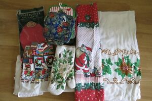 Christmas tablecloths, towels and pot holders