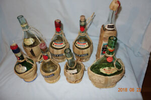Vintage Wicker Wrapped Empty Wine Bottles