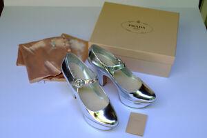 Prada Sylver  Mary Jane Platform shoes