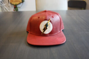 DC COMICS FLASH RED FAUX LEATHER BASEBALL CAP HAT NEW WITH TAGS